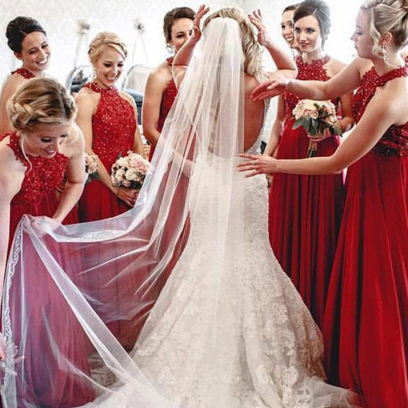 A-Line Halter Long Red Bridesmaid Dresses with Appliques Sequins, TYP1556