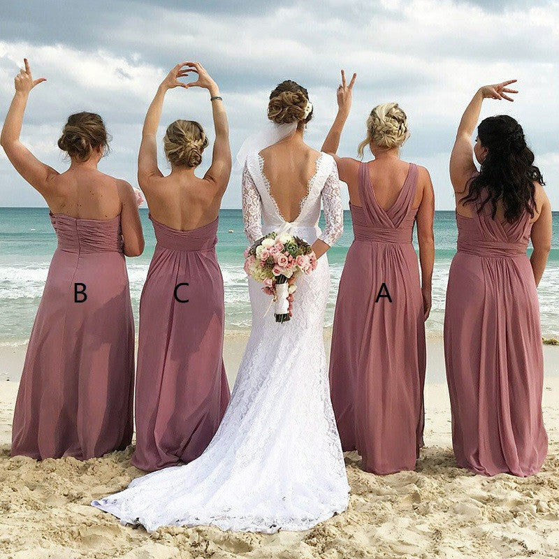 Mismatched V-Neck Long Dusty Pink Chiffon Bridesmaid Dresses with Pleats, TYP1535