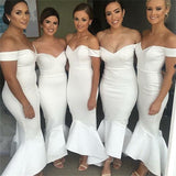White Mermaid Off-the-Shoulder Long White Bridesmaid Dresses, TYP1559