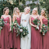 Charming A-Line Spaghetti Straps Dusty Rose Chiffon Bridesmaid Dresses, TYP1477