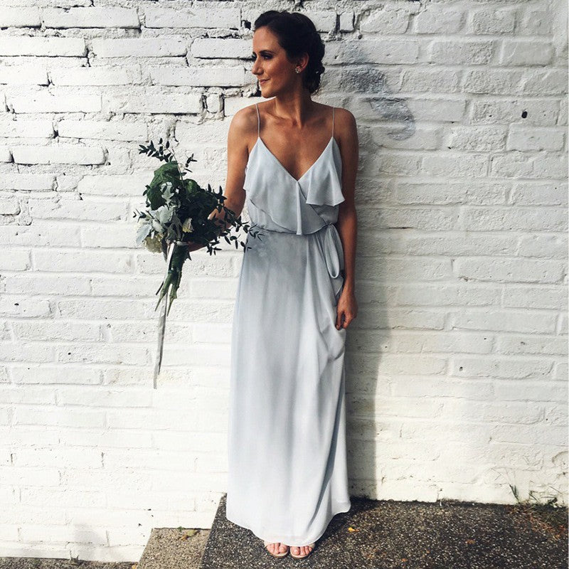 Sexy Spaghetti Strap Long Grey Chiffon Bridesmaid Dress with Sash, TYP1551