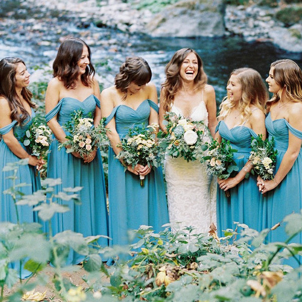 A-Line Off-the-Shoulder Sky Blue Chiffon Bridesmaid Dresses, TYP1405