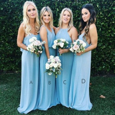 Mismatched A-Line Spaghetti Straps Long Blue Chiffon Bridesmaid Dresses, TYP1472