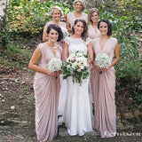 Sheath V Neck Sweep Train Pink Bridesmaid Dresses With Ruched, TYP1936