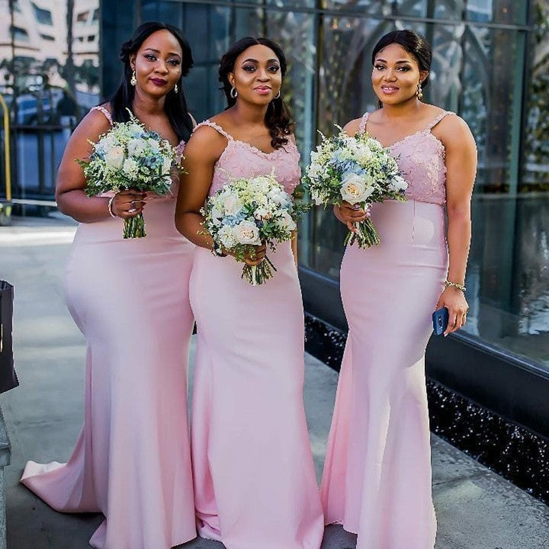 Mermaid Straps Long Cheap Pink Bridesmaid Dresses with Appliques, TYP1534