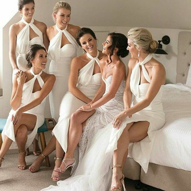 Unique Sheath Halter Knee-Length White Bridesmaid Dresses with Keyhole, TYP1473