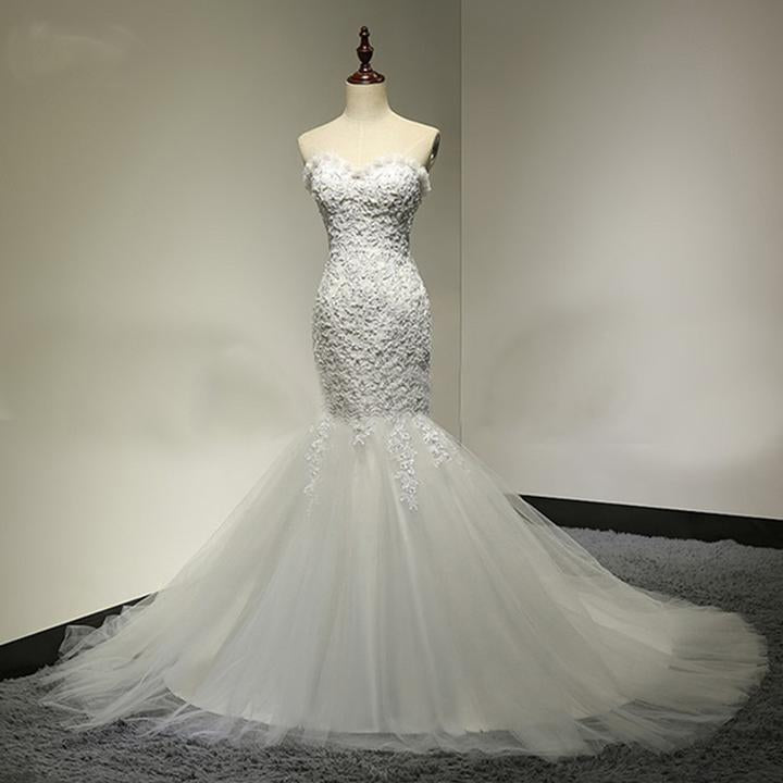 Sweetheart Long Mermaid Cheap Tulle Wedding Dresses with Appliques&Beading, TYP1060