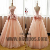 Long Floor Length Tulle Prom Dresses, Appliques Prom Dresses, Long Sleeve Prom Dresses, Lace Up Prom Dresses, TYP0306