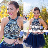 2 Pieces Halter Beading Homecoming Dresses, TYP0842
