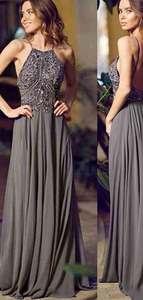 25c013d70c A-Line Halter Sleeveless Long Cheap Backless Grey Chiffon Prom Dresses with  Beading