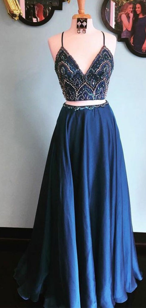 Two Piece Spaghetti Straps Blue Satin Prom Dresses with Beading, TYP1289