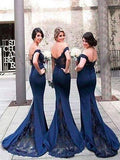 Mermaid Off-Shoulder Long Cheap Navy Blue Bridesmaid Dresses with Lace, TYP1052