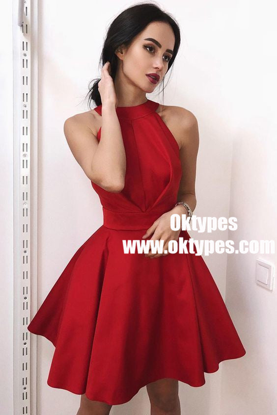 A-Line Halter Neck Pleated Short Red Satin Homecoming Dresses, TYP0922