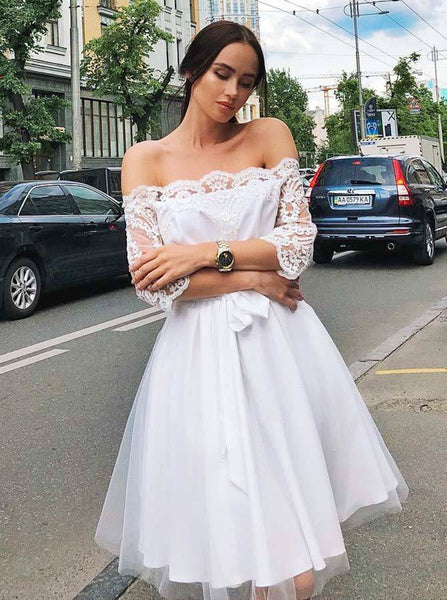 A-Line Off-Shoulder 3/4 Sleeves White Short Cheap Homecoming Party Dresses, TYP1023