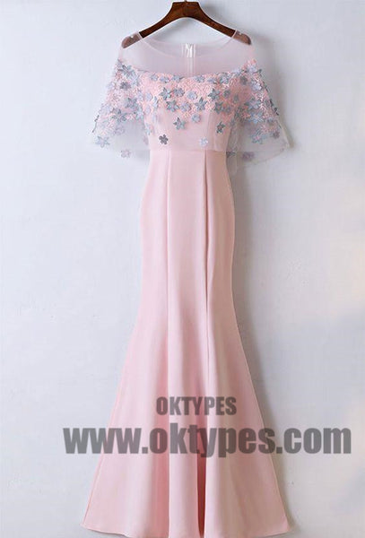 Pink Long Floor Length Prom Dresses, Appliques Lace Prom Dresses, Zipper Yarn Prom Dresses, Pink Evening Dresses, TYP0244