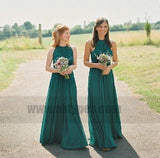 Cheap Halter Green Custom Chiffon Long Bridesmaid Dresses, TYP0815