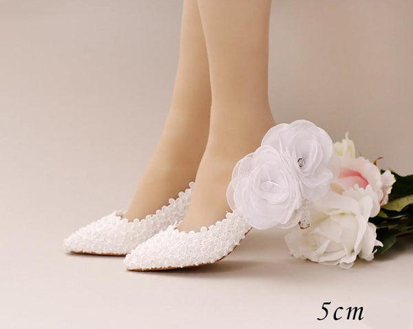 Pointed Toe Lace Pearls Wedding Shoes With Handmade Flowers, S033