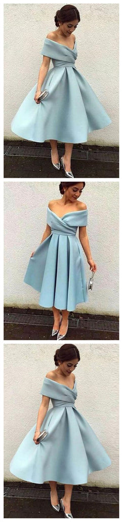 Off Shoulder Dusty Blue Short Cheap Homecoming Dresses 2018, CM543