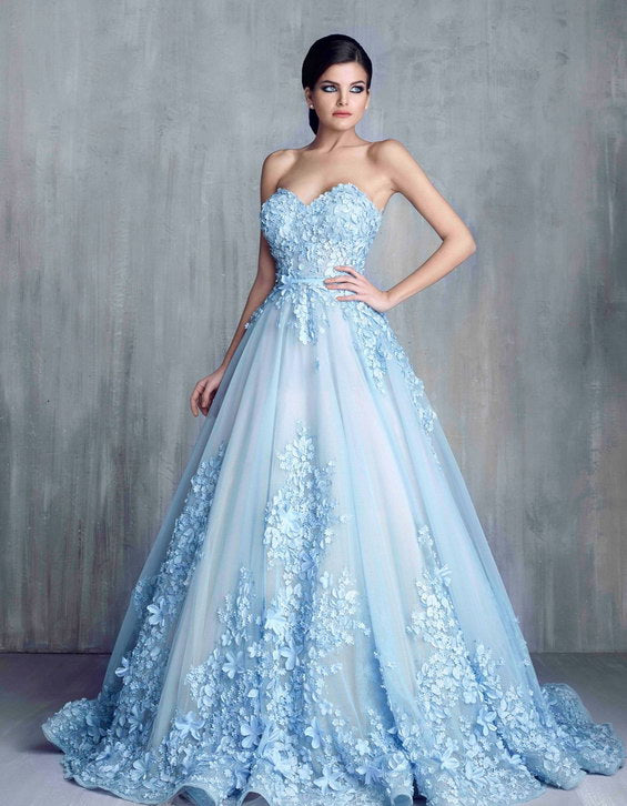 Light Blue Long Ball Gown Wedding Dresses, Sweetheart Wedding ...