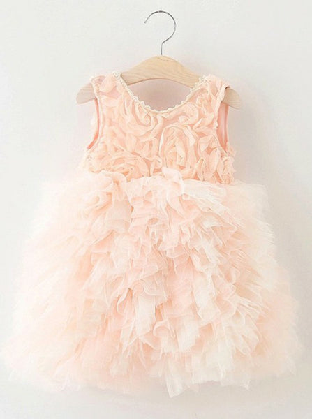 A-Line Crew Knee-Length Pearl Pink Tulle Flower Girl Dresses with Ruffles, TYP1026