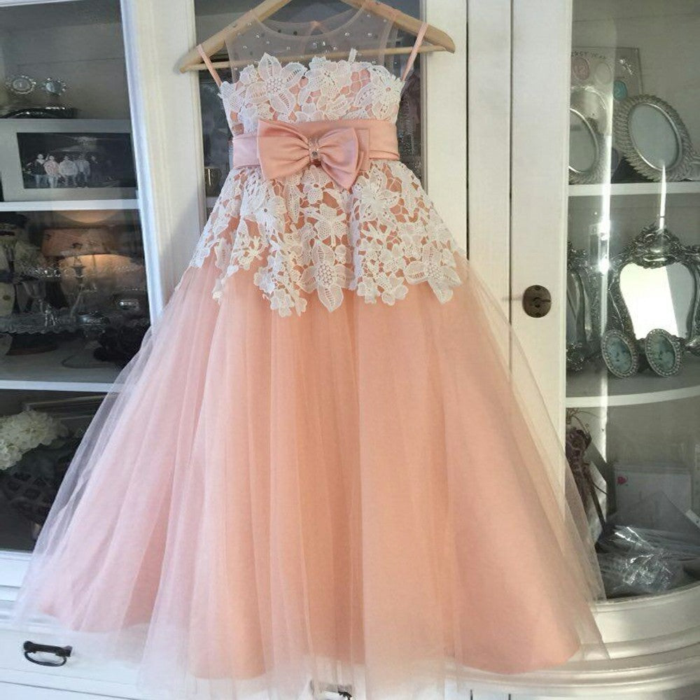 A-Line Round Neck Blush Tulle Flower Girl Dresses with Appliques Beading, TYP1380