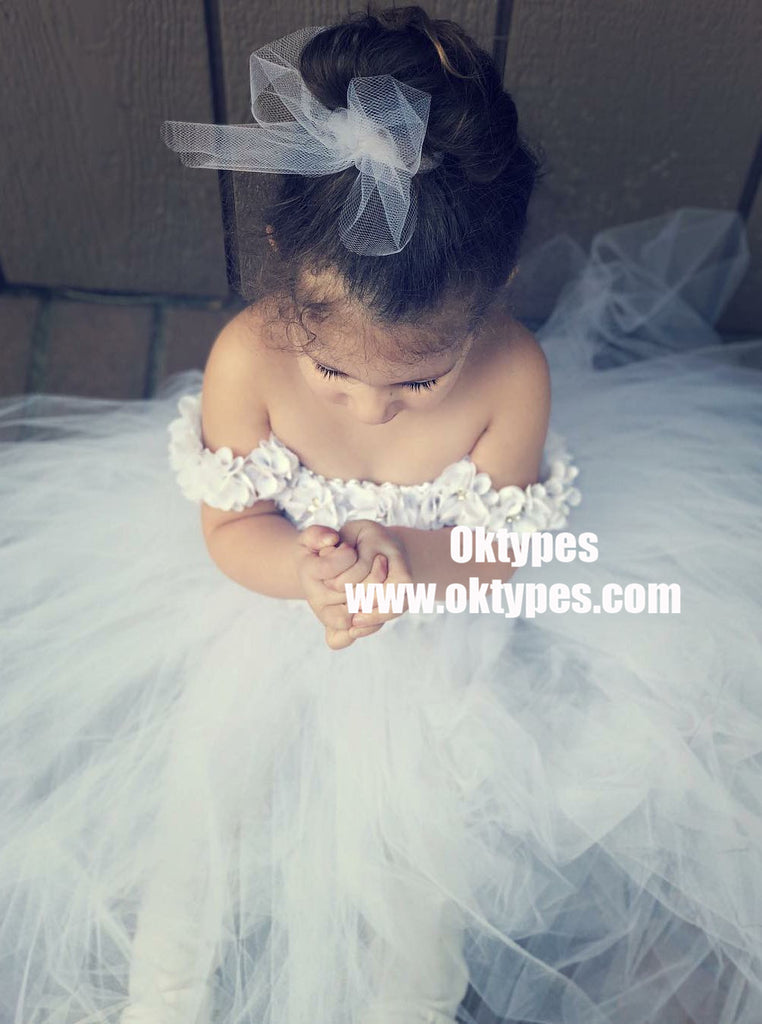 A-Line Off-the-Shoulder White Tulle Flower Girl Dress with Flowers, TYP0930