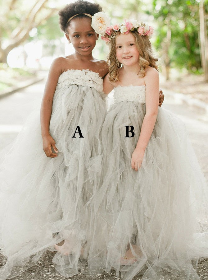 A-Line Strapless Sweep Train Light Grey Tulle Flower Girl Dress with Appliques, TYP1029