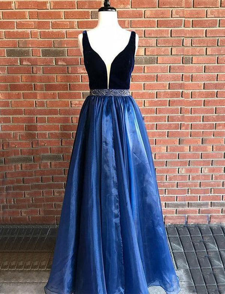 Deep V Neck Navy Blue Tulle Long Prom Dress Gown With Beading, TYP1500