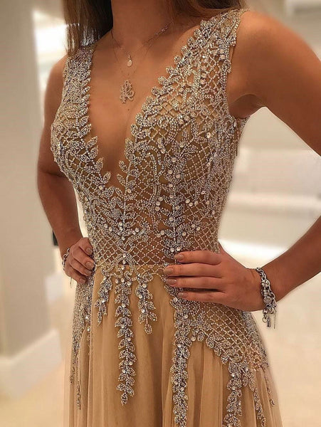 2019 Charming Custom V neck Sleeveless Side Sleeves Most Popular Affordable High Quality Prom Dresses, TYP1156