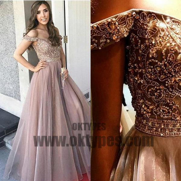 New Arrival A-Line Floor-length Off-Shoulder Tulle Prom gown with Beading,long prom dresses, TYP0425