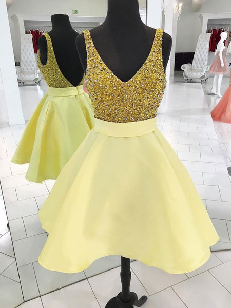 V Neck Yellow Beaded Backless Cheap Cute Simple Homecoming Dresses 2018, CM467
