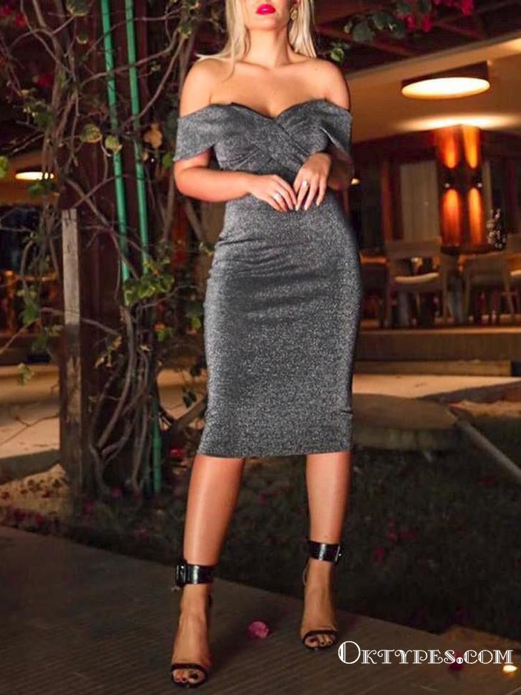 Chic Off the Shoulder Open Back Grey Sequins Short Homecoming Dresses, TYP1997