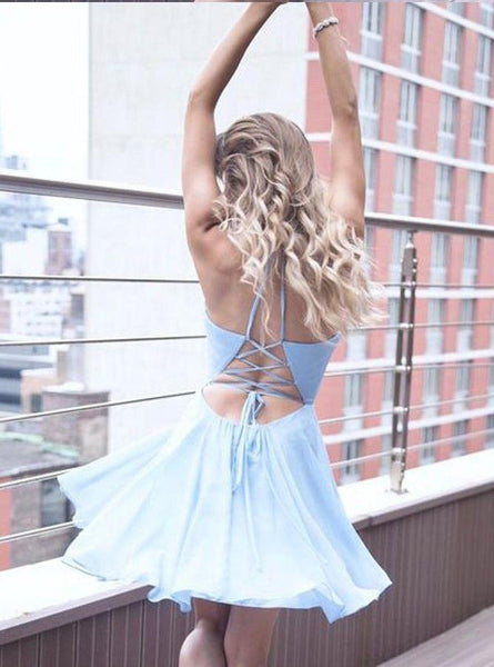 Sexy Casual Chiffon Blue Spaghetti Straps Short Cheap Homecoming Dresses Online, CM566