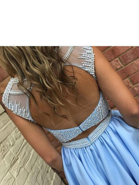 Open Back Blue Cap Sleeve Heavily Beaded Bateau Cute Homecoming Dresses 2018, CM472