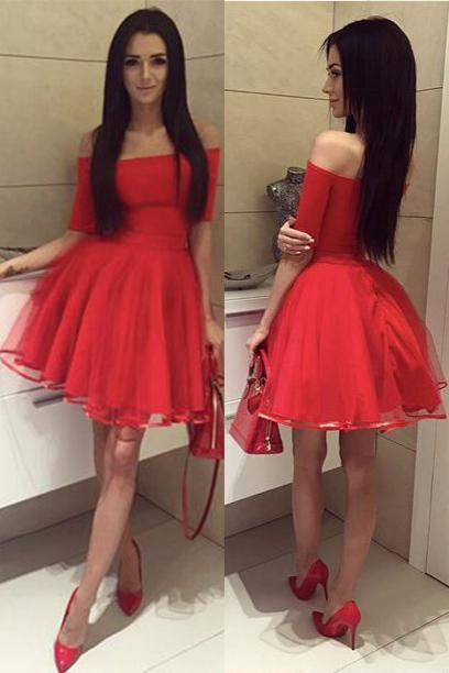 Off Shoulder Short Sleeves Red Short Cheap Homecoming Dresses Online, CM567