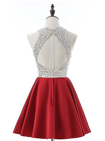 Cheap Halter Heavily Beaded Cute Red Homecoming Dresses 2018, CM475