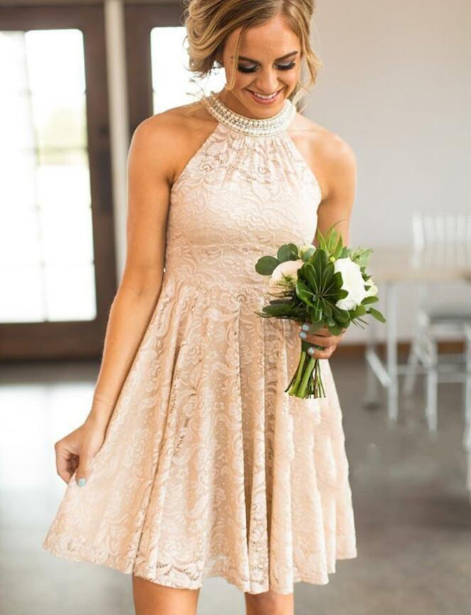 Halter Short Pearl Pink Lace Junior Bridesmaid Dresses Online with Pearls,TYP0971