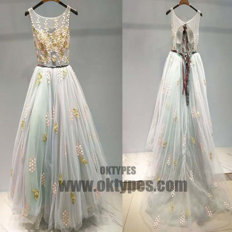Unique Scoop Neckline Tulle Applique Long Prom Dress, Beautiful Prom Dress, Prom Dresses, TYP0317