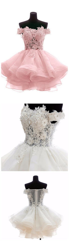 Off Shoulder Pink Lace See Through Short Cheap Homecoming Dresses 2018, CM544