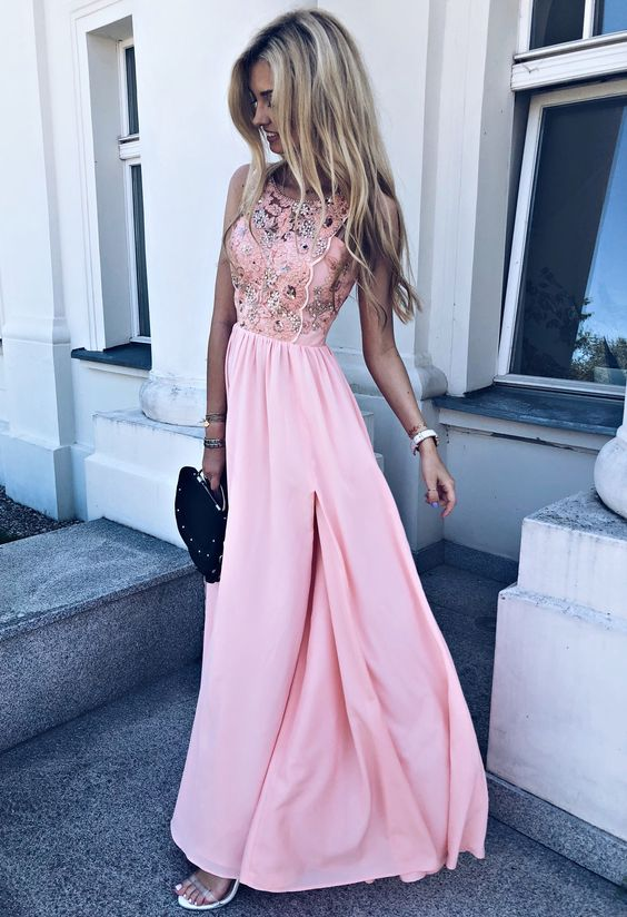 Pretty Round Neck Pink Chiffon Long Homecoming Prom Dresses with Appliques, TYP1062
