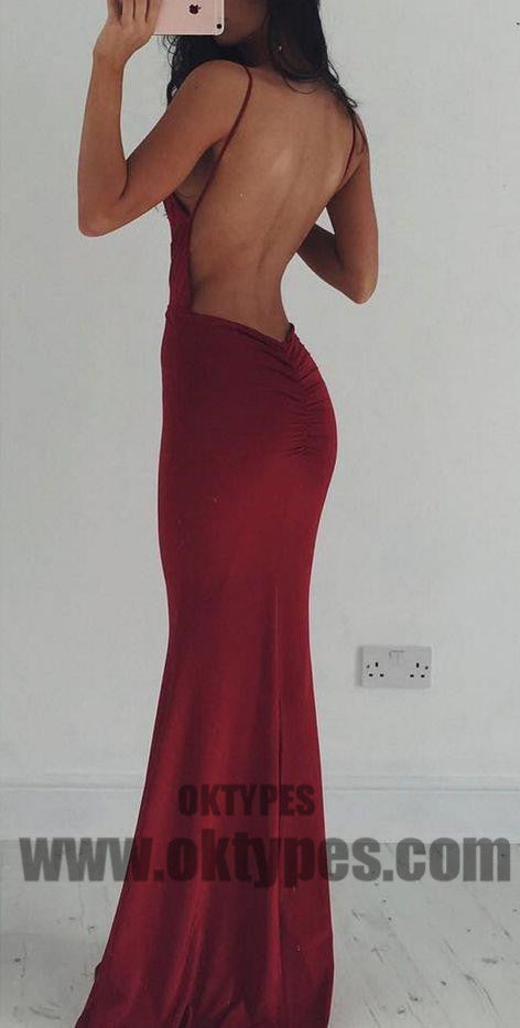 Sexy Prom Dresses, Long Evening Dresses, Backless Prom Dresses, V-neck Prom Dresses, Red Party Dresses, TYP0061