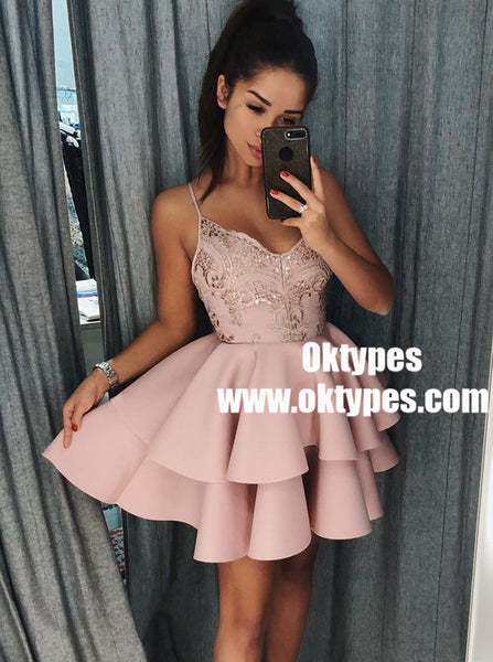 5bbec44a10 A-Line Spaghetti Straps Tiered Pink Satin Homecoming Dress with Sequins