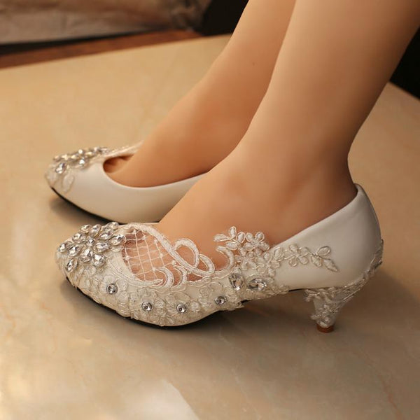 Handmade Middle Heels Pointed Toe Lace Crystal Wedding Bridal Shoes, S007