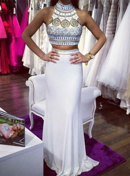 Two Piece Prom Dresses, Beading Prom Dresses, Open-back Prom Dresses, Halter Prom Dresses, TYP0237