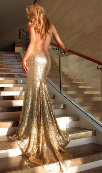 Mermaid Sexy Deep V-neck Backless sequins evening dresses, Popular long prom dresses, TYP0424