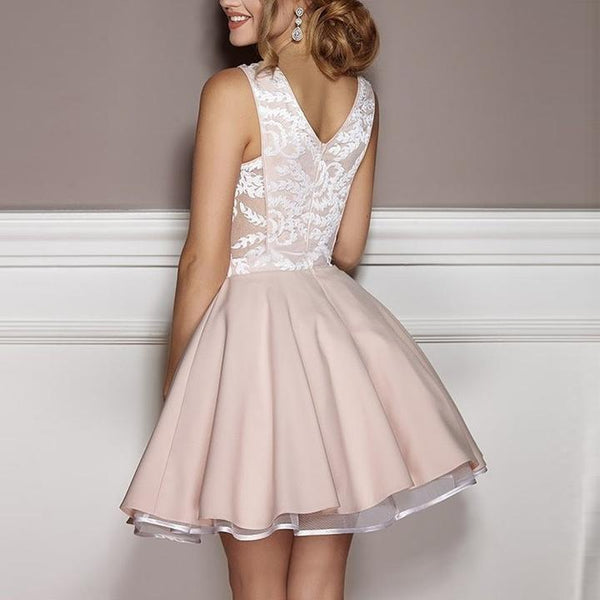Pink Deep V-neck Sexy Appliques Short Junior Homecoming Dresses Online, TYP1106