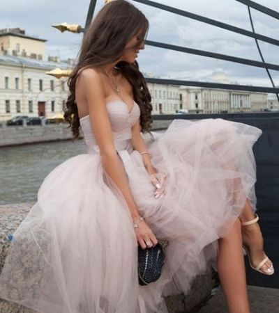 Charming A Line Sweetheart Tulle Light Blush Below Knee-length Short Cheap Homecoming Dresses, TYP2038