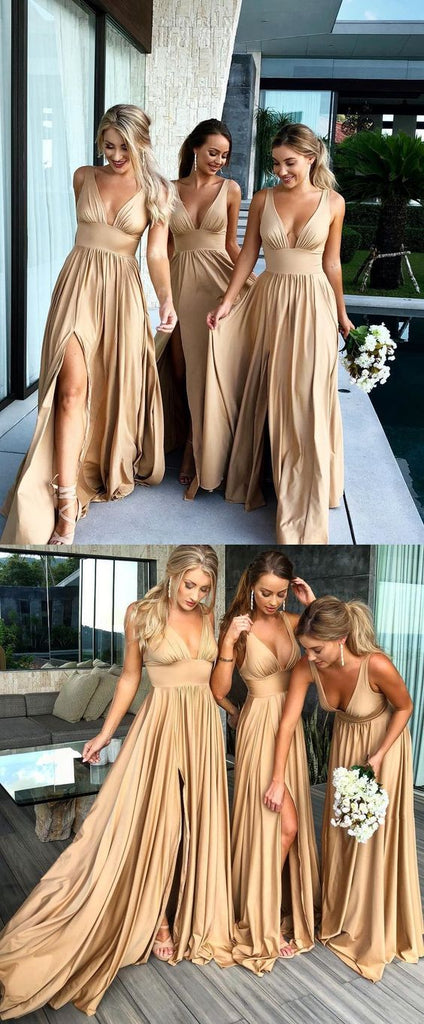 Sexy Mermaid Gold V-neck Backless Long Cheap Bridesmaid Dresses Online, TYP1075