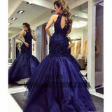 Navy Blue Prom Dresses, Long Mermaid Prom Dresses, Open-back Lace Prom Dresses, Beading Evening Dresses, TYP0057