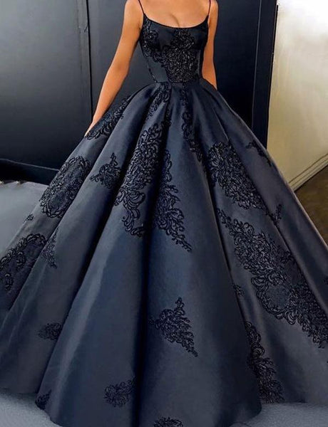 Fashion Ball Gown Spaghetti Straps Dark Blue Quinceanera Dress With Appliques, TYP1517